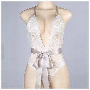 Intimates & Sleepwear - Lace Babydoll Bow Bodysuit Lingerie